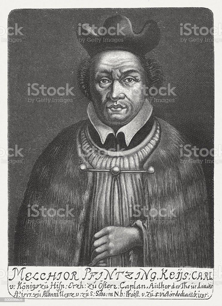 Melchior Pfintzing (1481-1535), senior official under Maximilian I, published 1882 royalty-free stock vector art