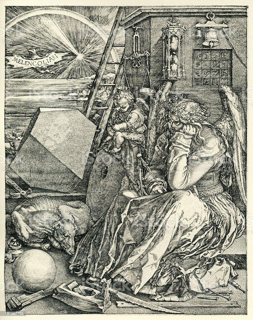 Melencolia vector art illustration