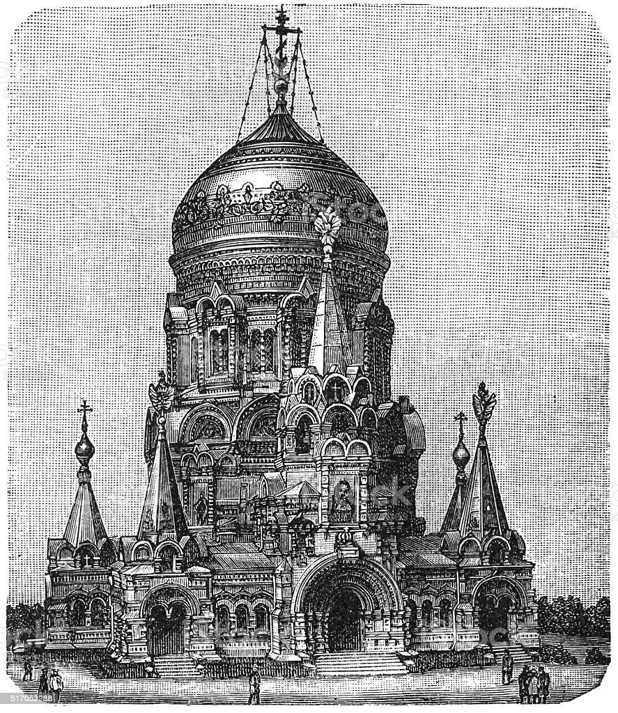 Memorial Church in Borki vector art illustration