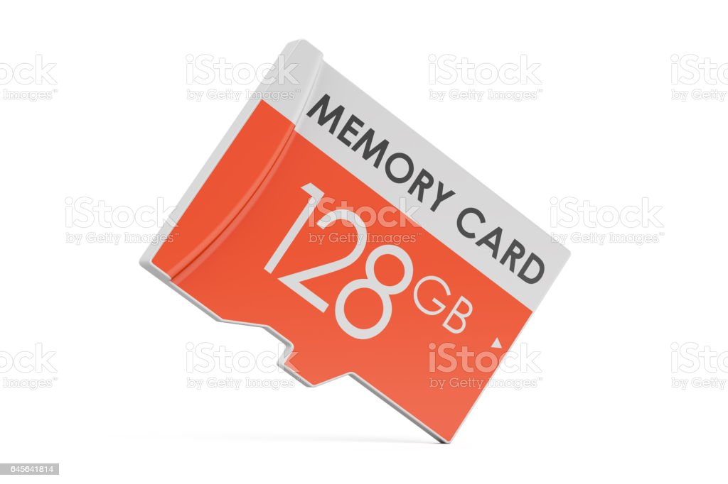 memory card 128 GB, 3D rendering isolated on white background stock photo