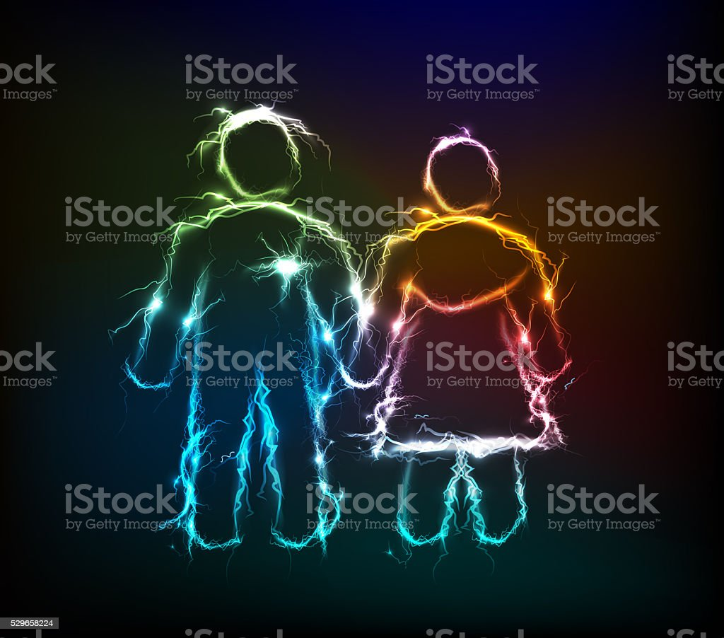 Men and woman, Electric lights effect background. stock photo