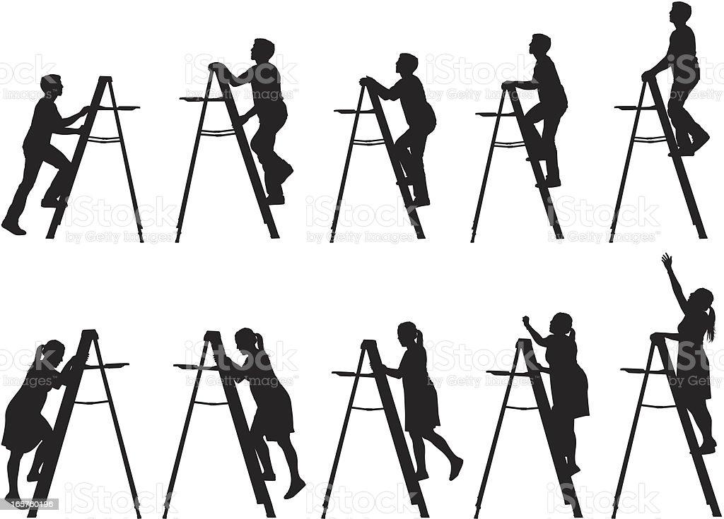 Men and women climbing up ladders vector art illustration