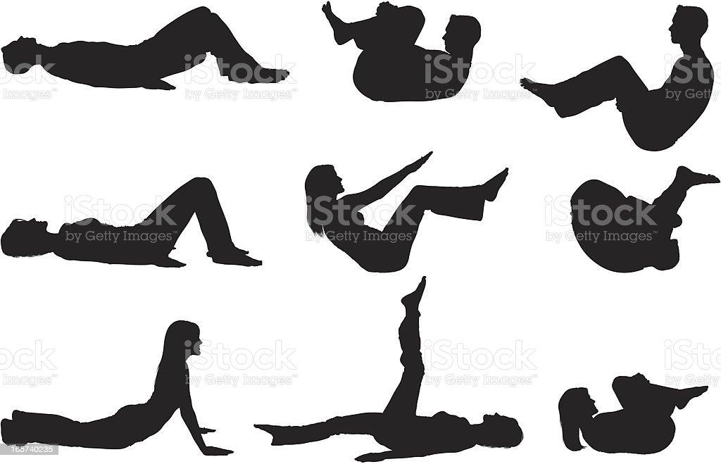 Men and women doing yoga royalty-free stock vector art
