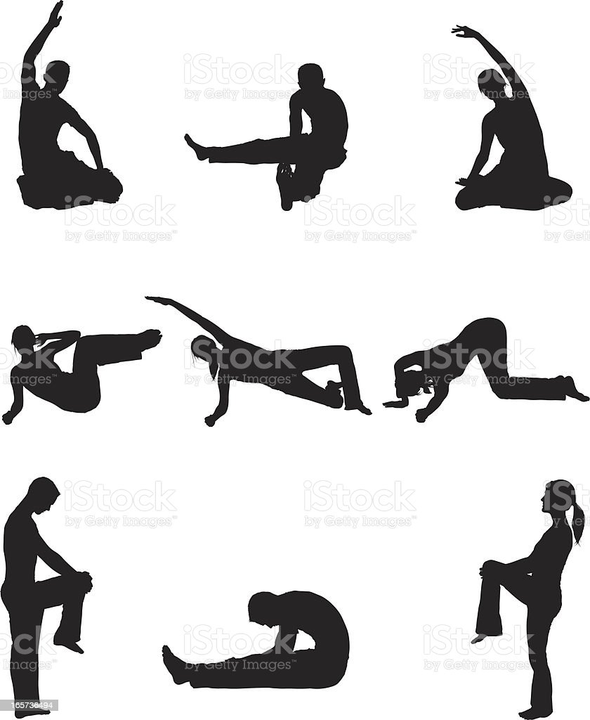 Men and women doing yoga stretchs royalty-free stock vector art