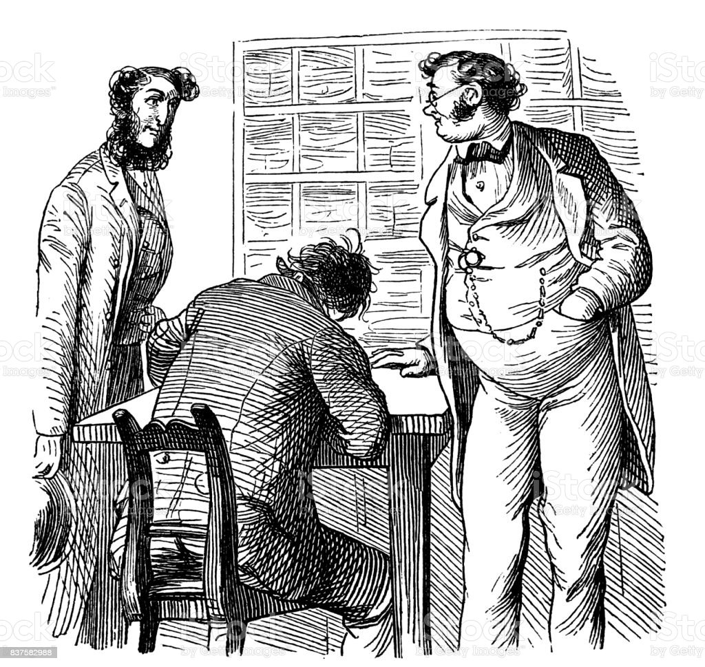Men are discussing in the office - 1867 vector art illustration