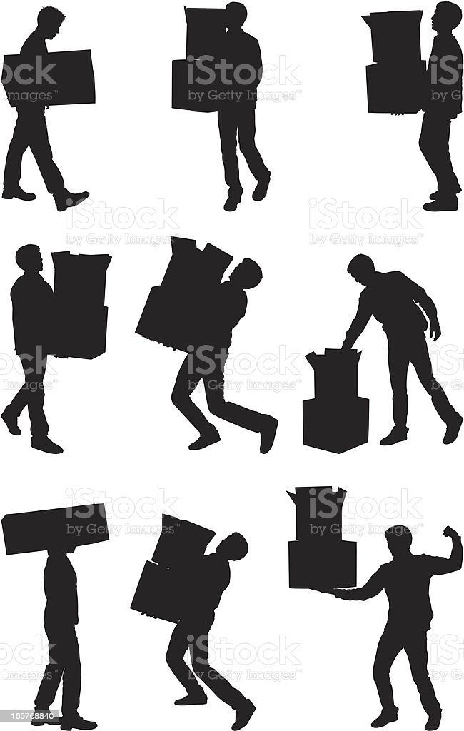 Men carrying moving boxes royalty-free stock vector art