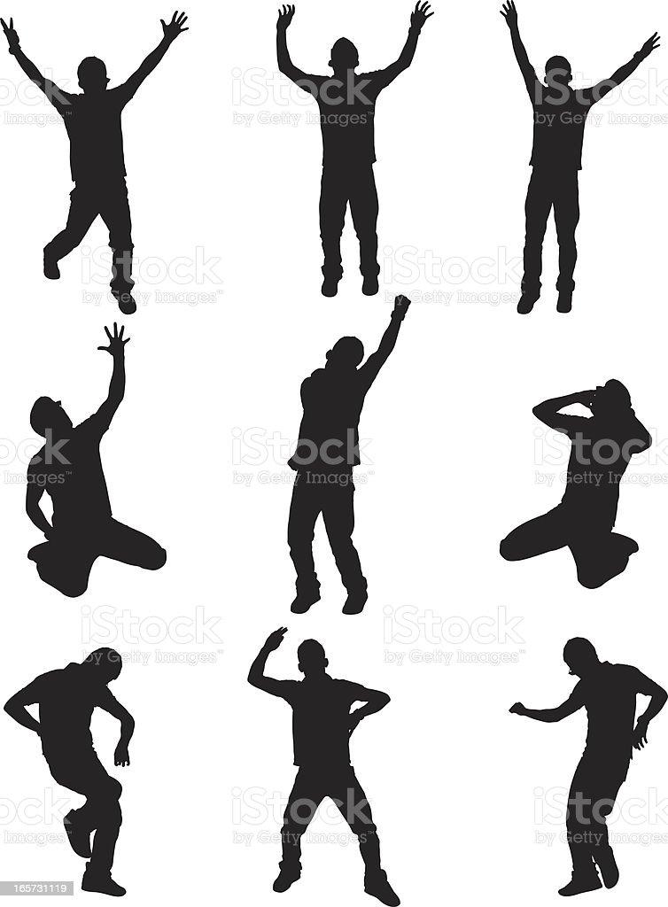 Men celebrating and dancing vector art illustration