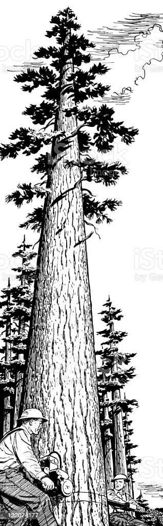 Men cutting Down Tree royalty-free stock vector art