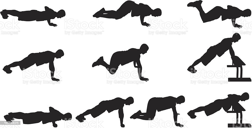 Men doing push ups vector art illustration