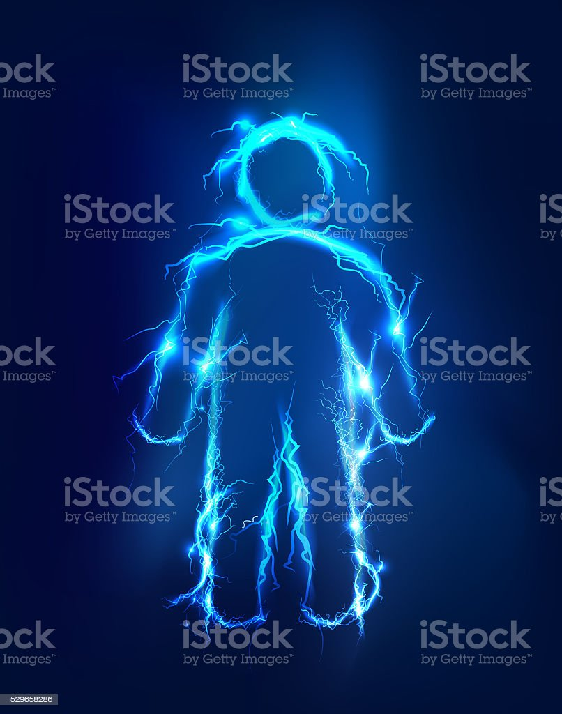 Men, Electric lights effect background. stock photo