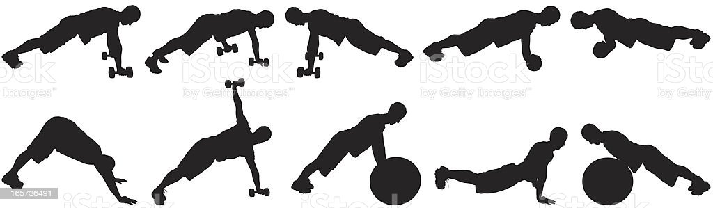 Men exercising with dumbbells and fitness balls royalty-free stock vector art