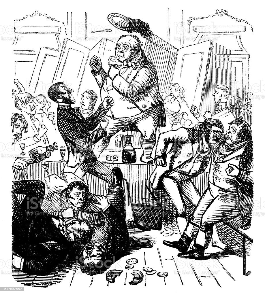 Men fighting around a table vector art illustration