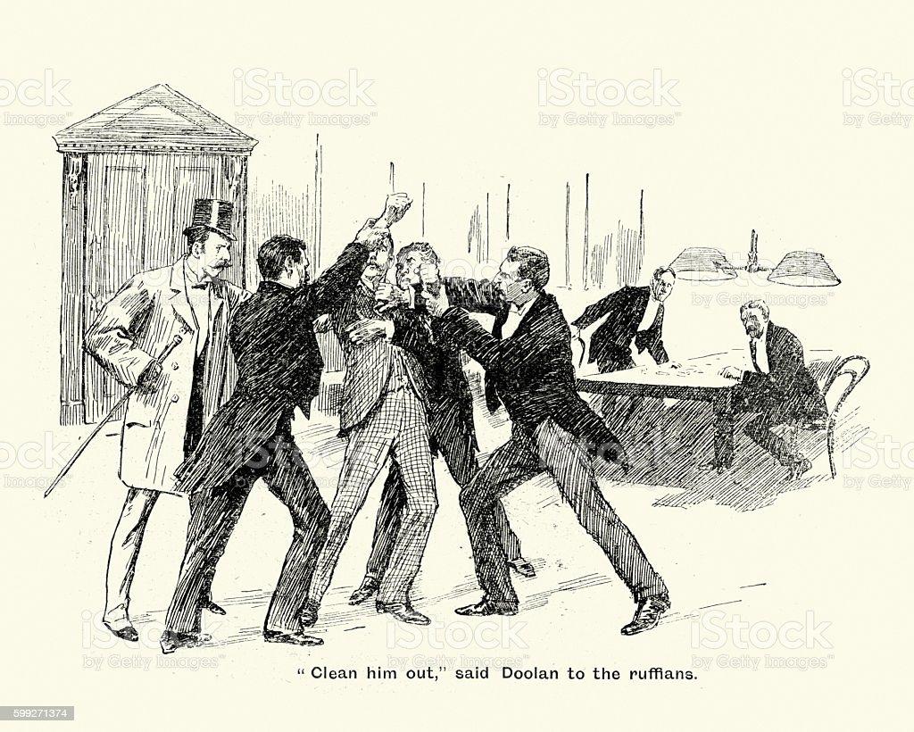 Men fighting over a game of card, 1894 vector art illustration