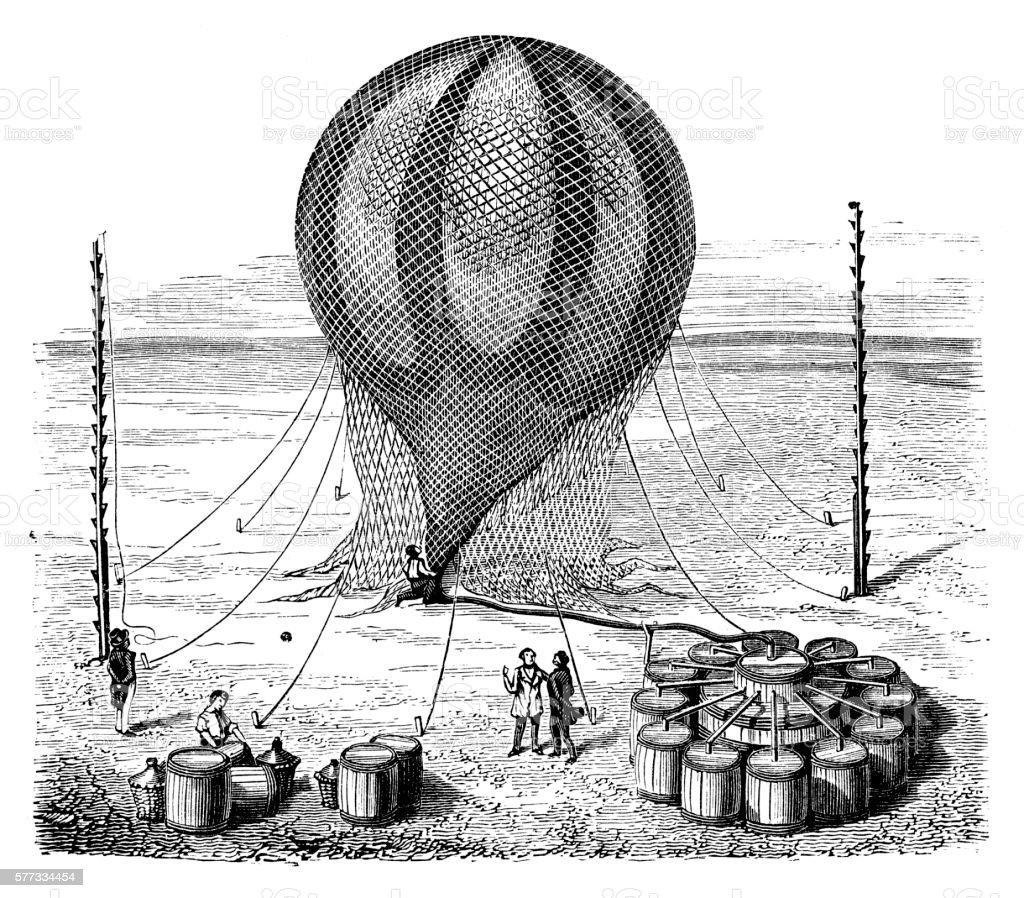 Men filling up Hydrogen Balloon vector art illustration