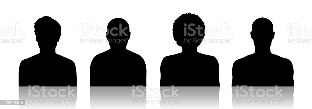 men id silhouette portraits set 2 vector art illustration