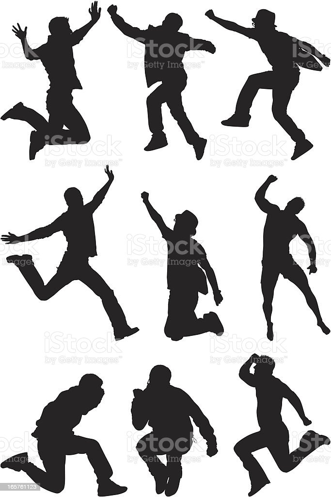 Men jumping and posing mid air royalty-free stock vector art