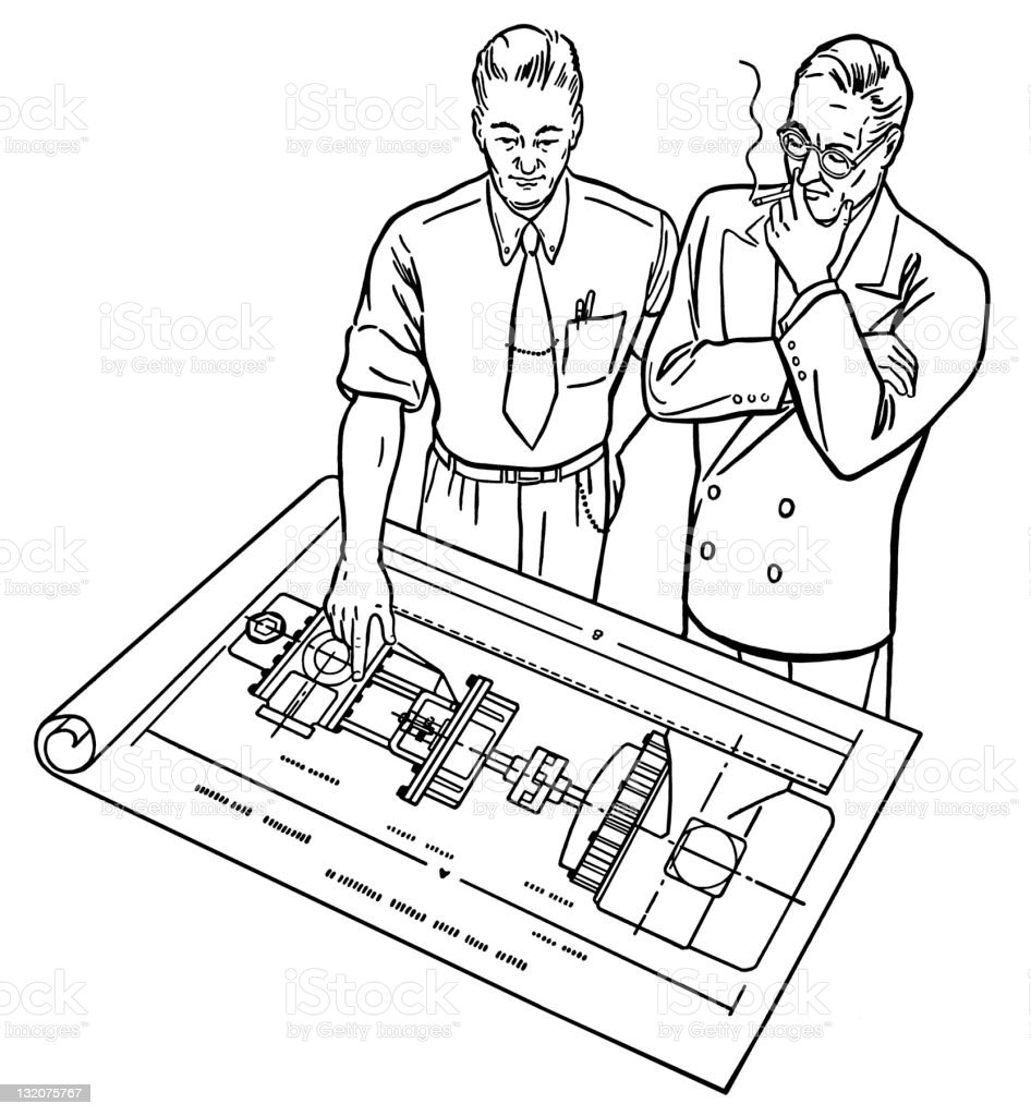Men Looking at Blueprints royalty-free stock vector art
