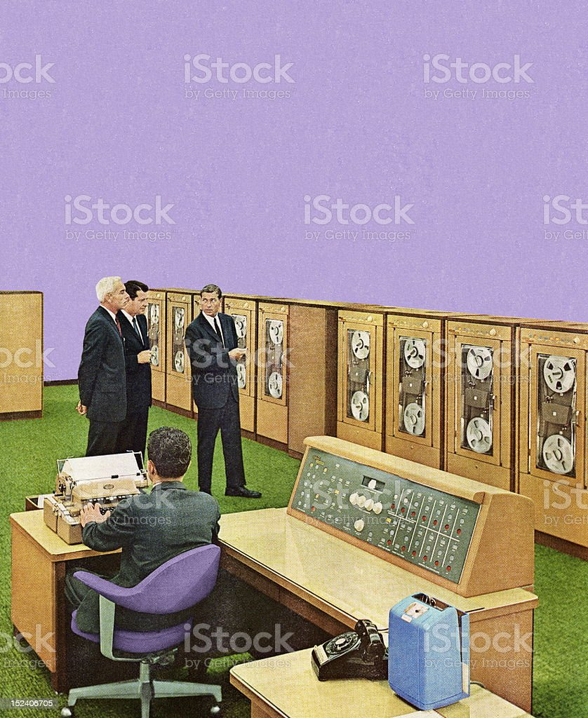 Men Looking at Office Equipment royalty-free stock vector art