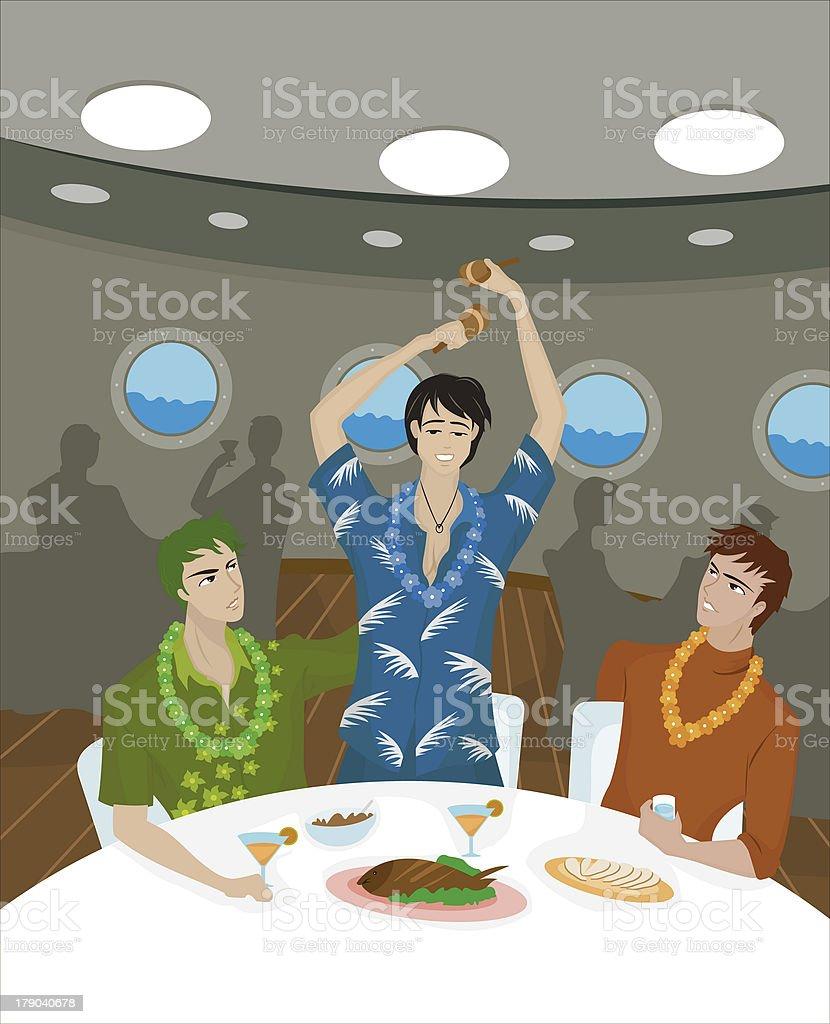 men on a cruise ship royalty-free stock vector art