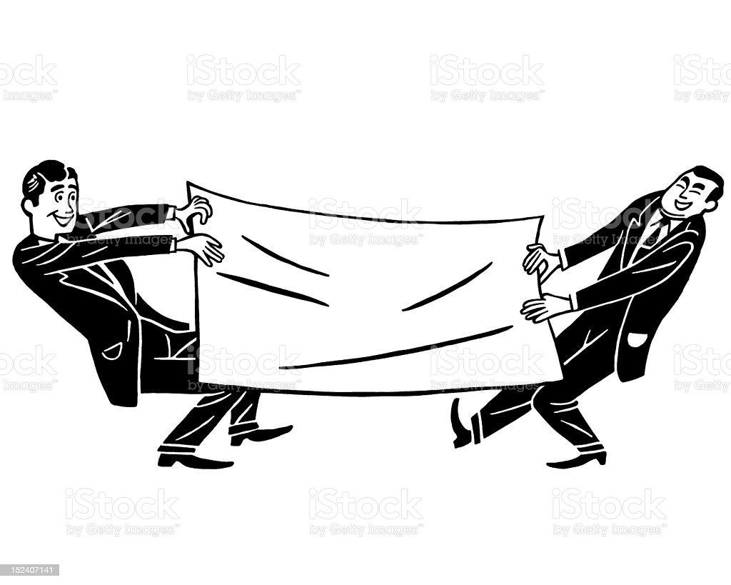 Men Pulling Large Sheet of Paper royalty-free stock vector art