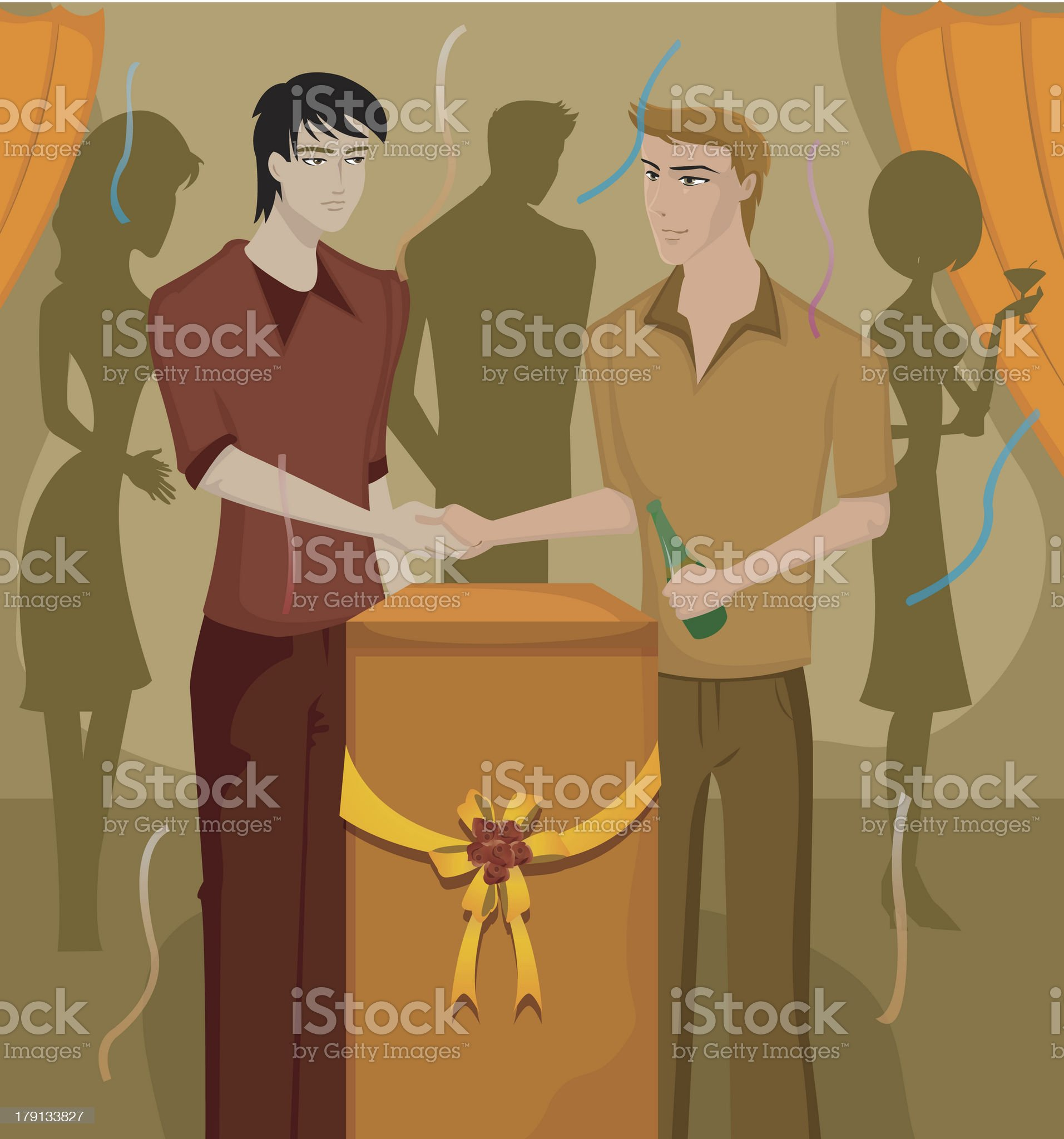 men shaking hands at a party royalty-free stock vector art