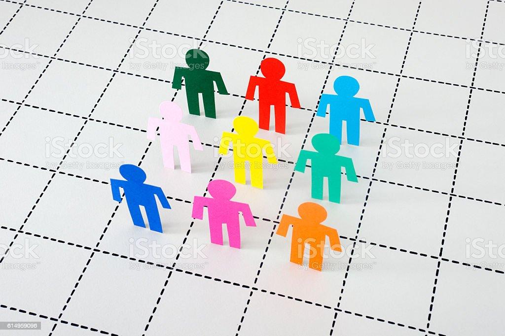 Men standing on dotted line mesh vector art illustration