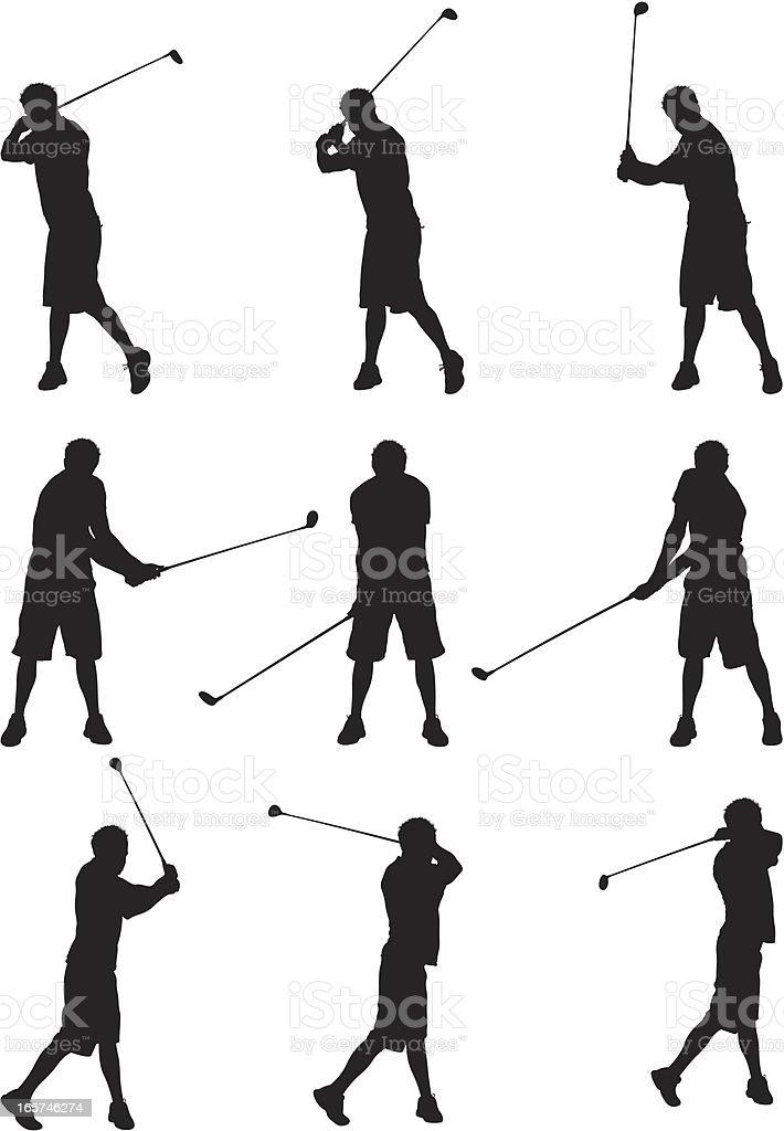 Men swinging golf clubs vector art illustration