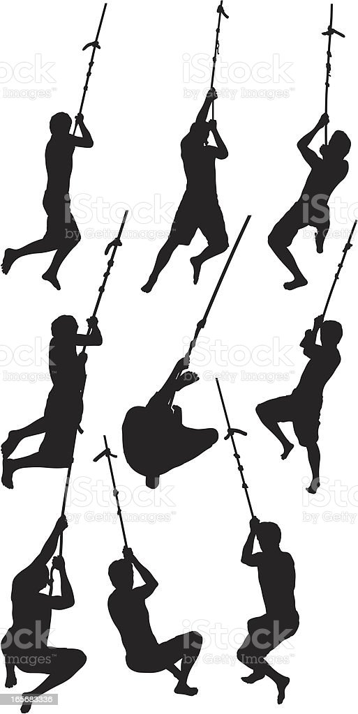 Men swinging on rope royalty-free stock vector art