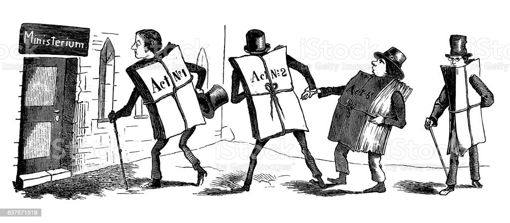 Men tied up with documents go to the ministry - 1867 vector art illustration