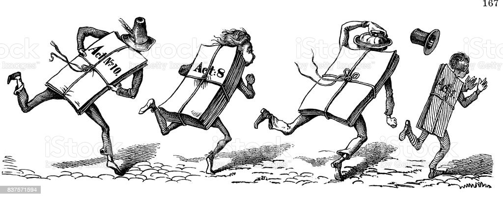 Men tied up with ducuments running forward - 1867 vector art illustration