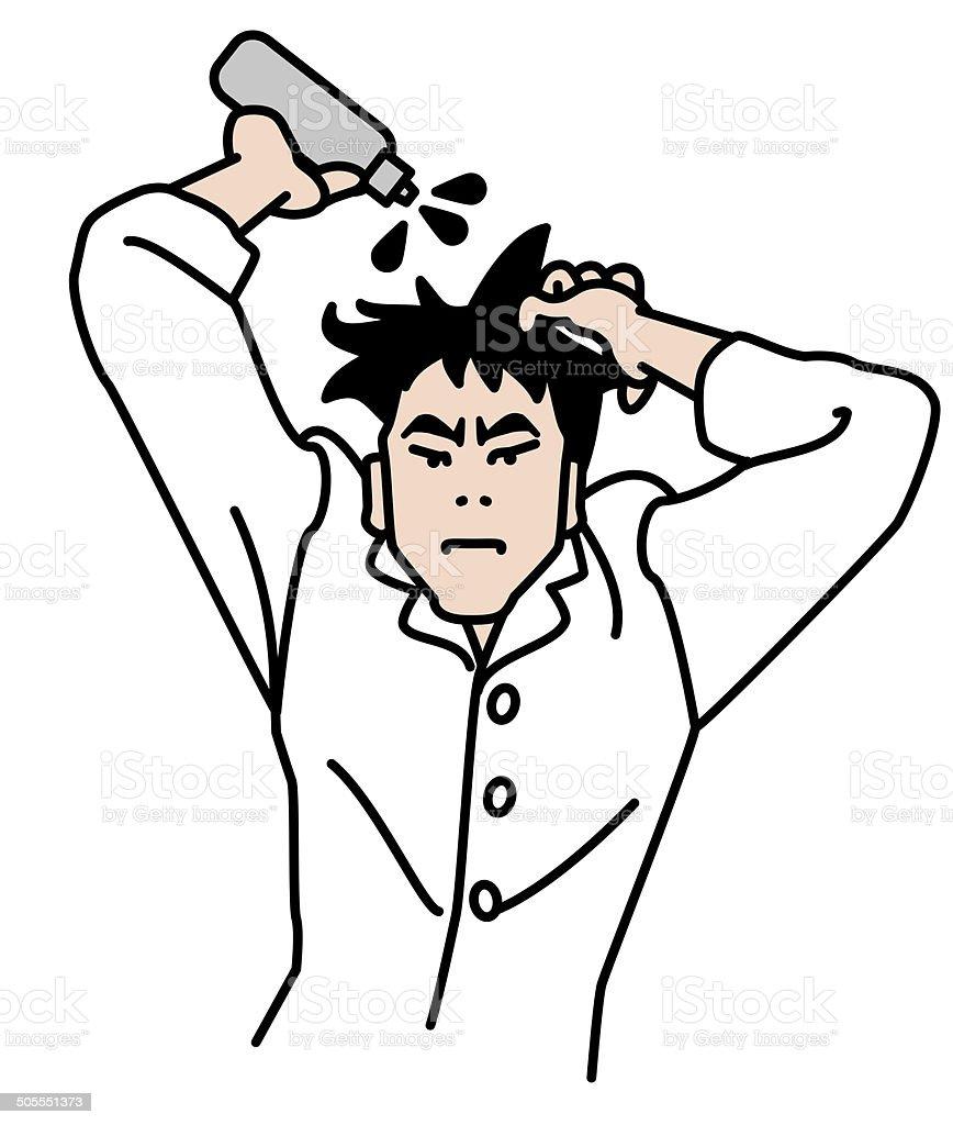 Men wear a hair restorer vector art illustration