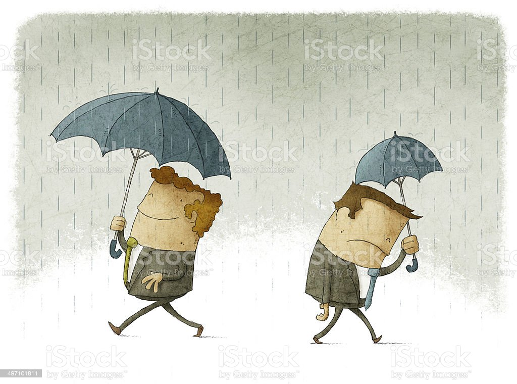 Men with big and small umbrellas vector art illustration