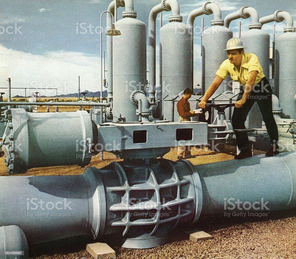 Men Working on Pipeline royalty-free stock vector art