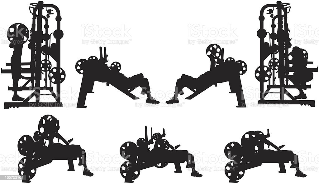 Men working out at the gym vector art illustration