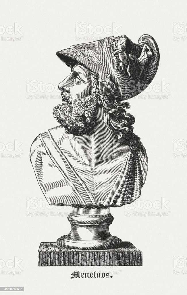 Menelaus - Figure in the Greek Mythology, published in 1878 vector art illustration