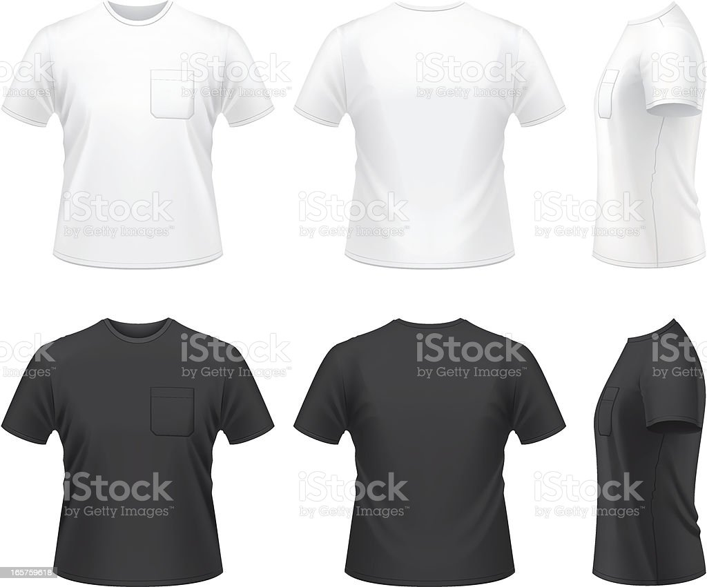 T shirt black and white clipart -  Men S T Shirt With Pocket Vector Art Illustration