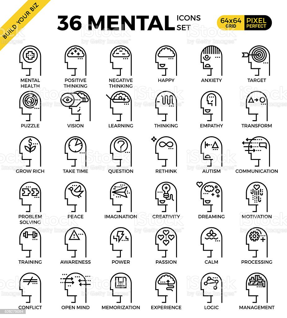 Mental & Mind pixel perfect outline icons vector art illustration