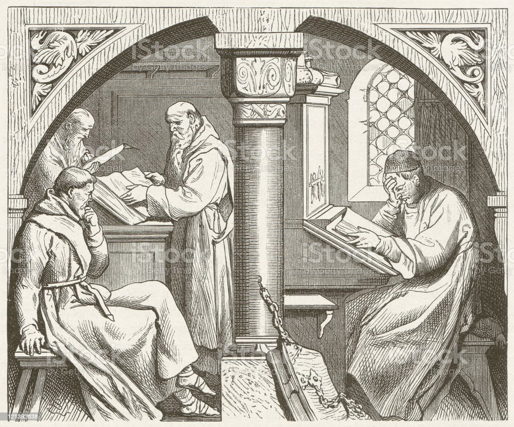 Mental work in a medieval monastery, wood engraving,published 1881 vector art illustration