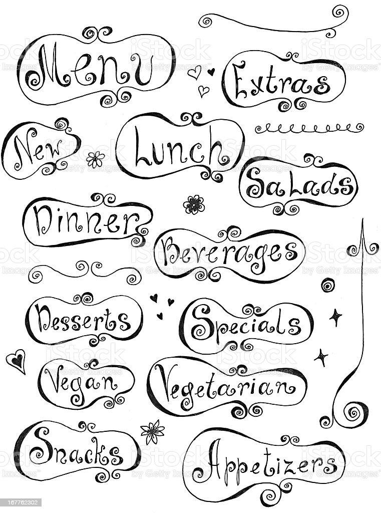 Menu doodles royalty-free stock vector art