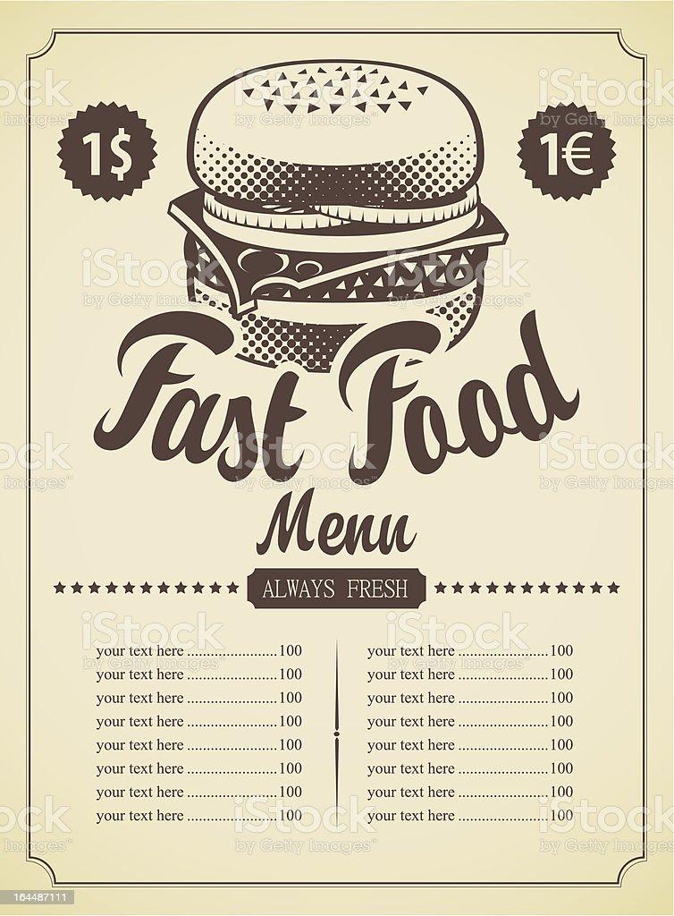 menu for fast food royalty-free stock vector art