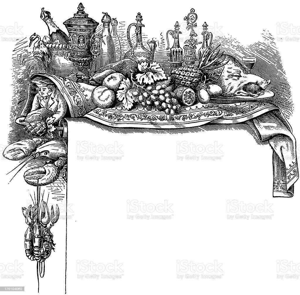 Menu Frame | Antique Food Illustrations vector art illustration