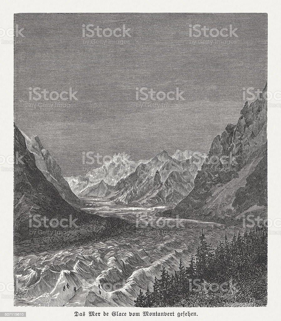 Mer de Glace, largest glacier of France, published in 1882 vector art illustration