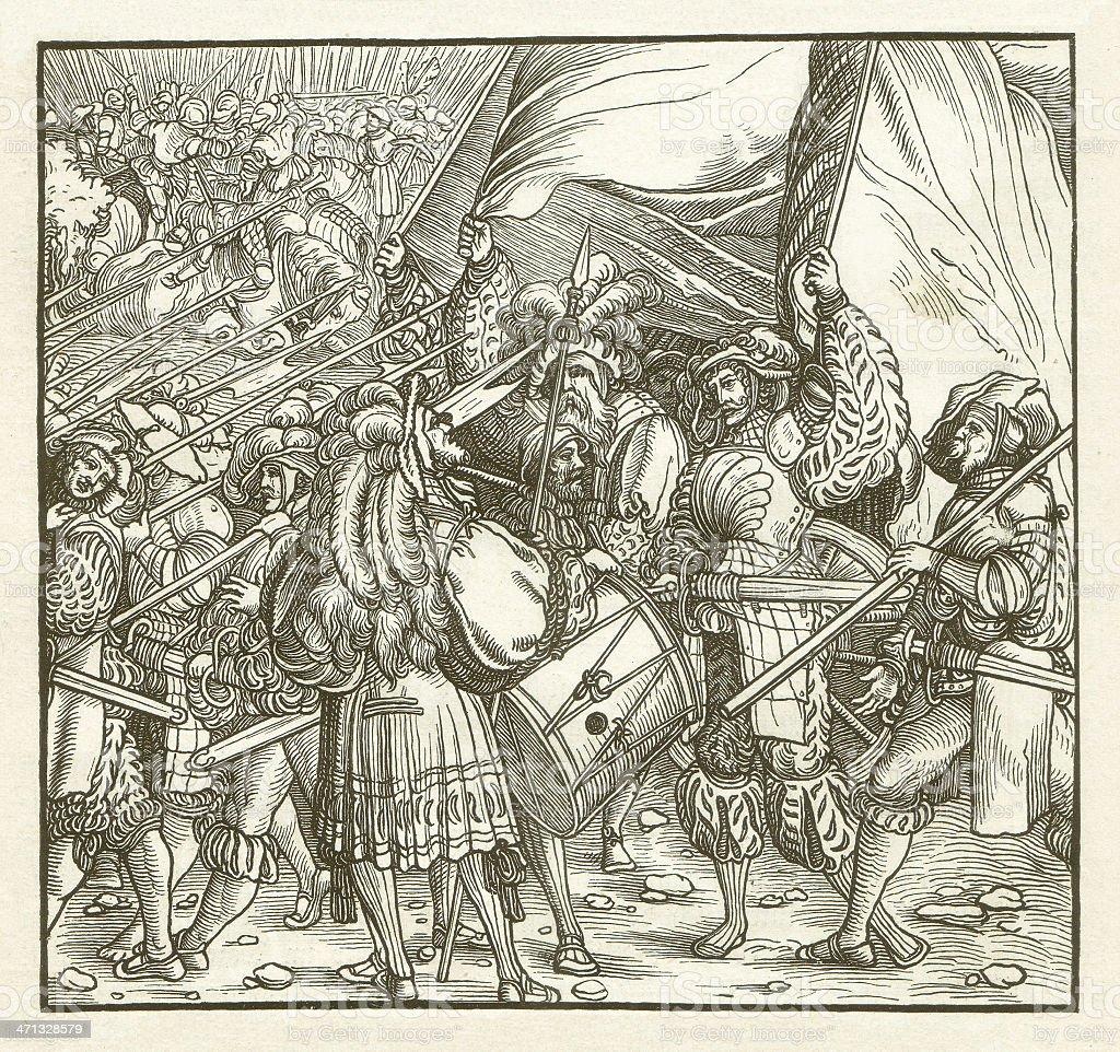 Mercenaries of Charles V (c.1500), wood engraving, published in 1881 vector art illustration