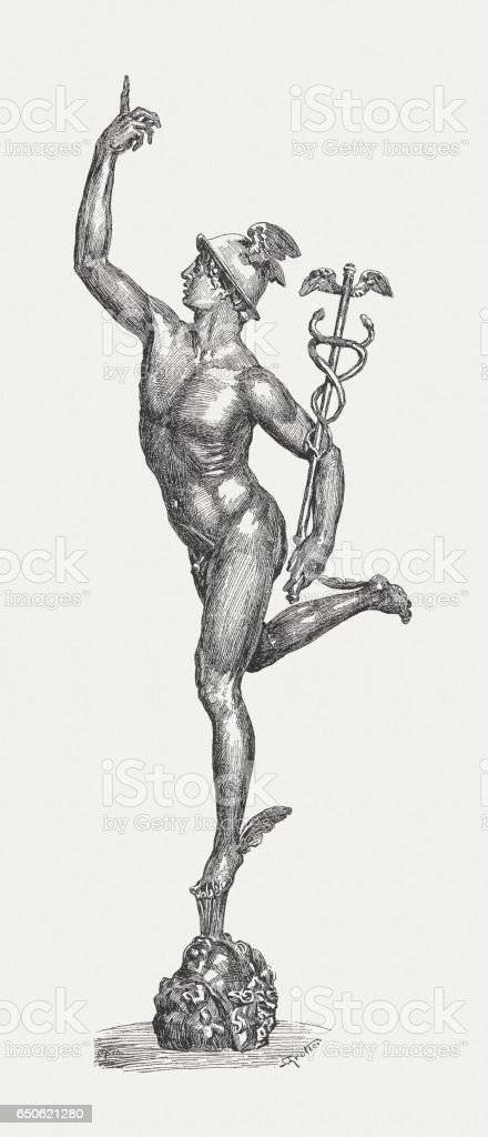 Mercury, Roman god, created (1580) by Giambologna, Florenze, published 1884 vector art illustration