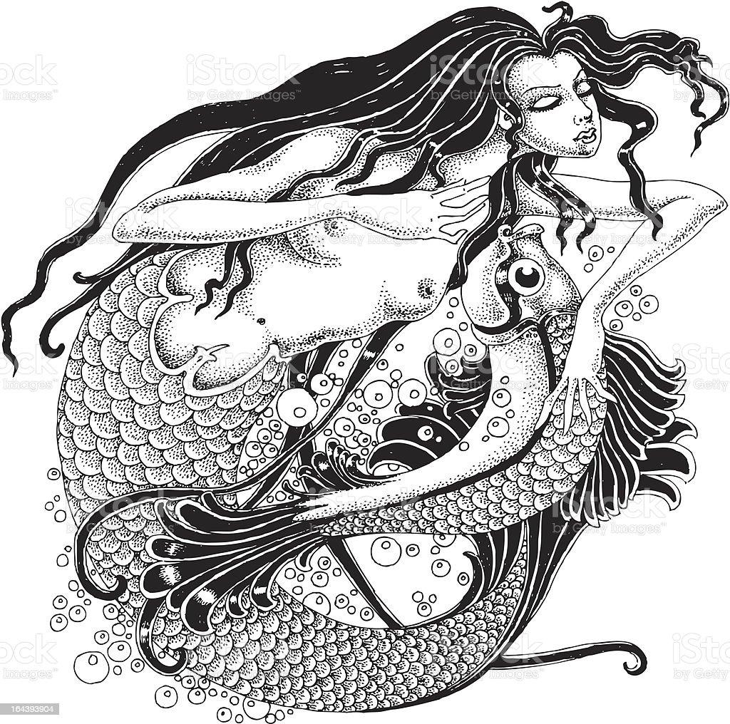 Mermaid and fish royalty-free stock vector art