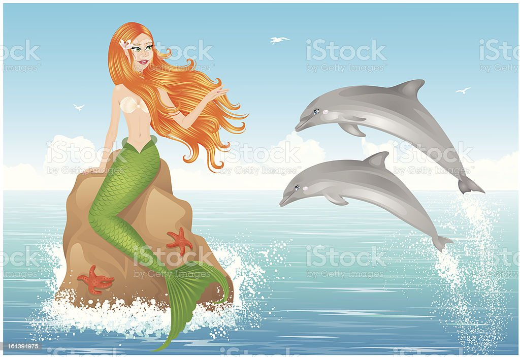 Mermaid and two dolphins. royalty-free stock vector art