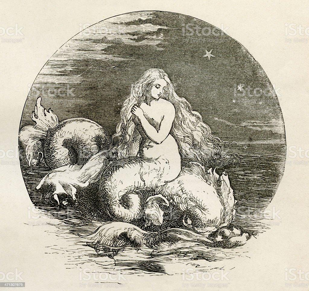 Mermaid, Nix, Engraving royalty-free stock vector art