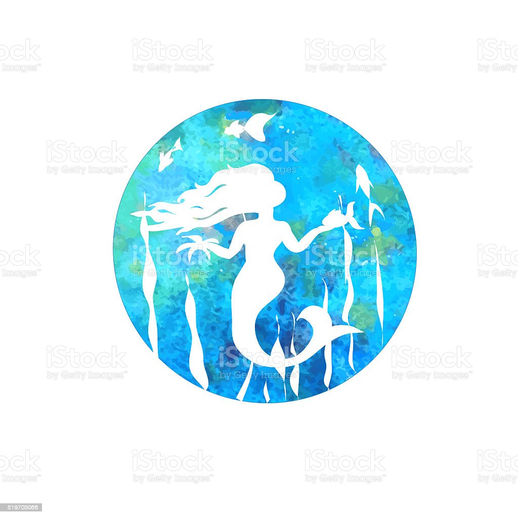 Mermaid silhouette cartoon with fish on watercolor background stock photo