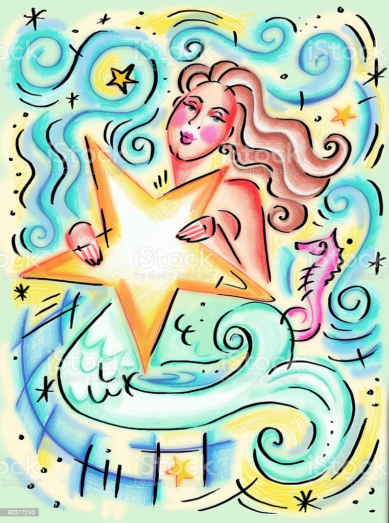 Mermaid with Starfish vector art illustration