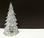 Merry Christmas and Happy New Year, white clear Xmas tree
